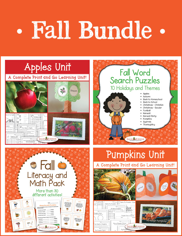 Fall Bundle - Apple Unit, Pumpkin Unit, Fall Literacy and Math, Fall Word Searches