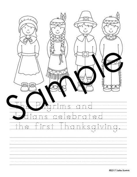 Thanksgiving Handwriting and Coloring Pages 1