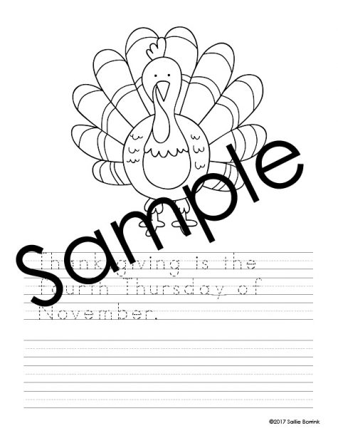 Thanksgiving Handwriting and Coloring Pages 3