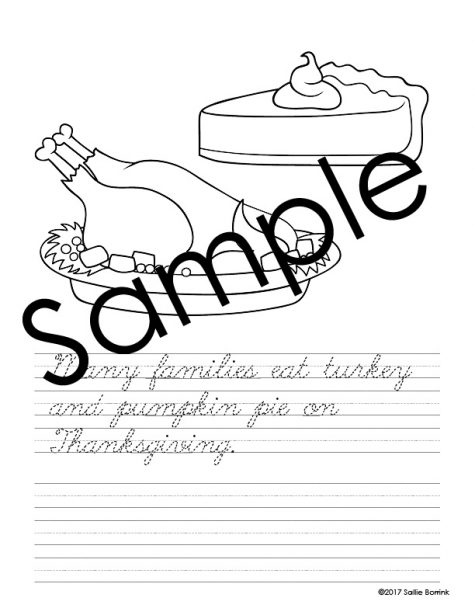 Thanksgiving Handwriting and Coloring Pages 9