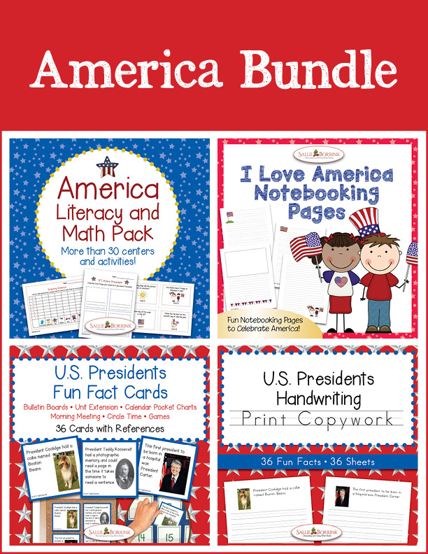 America Bundle - Literacy and Math, Print Copywork, Fun Fact Cards, and Notebooking Pages