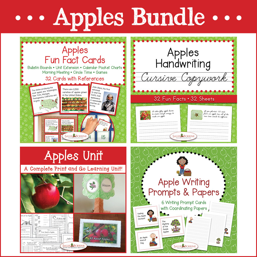Apples Bundle – Unit with Life Cycle Craft, Curisve Copywork, Fun Fact Cards, Writing Prompts