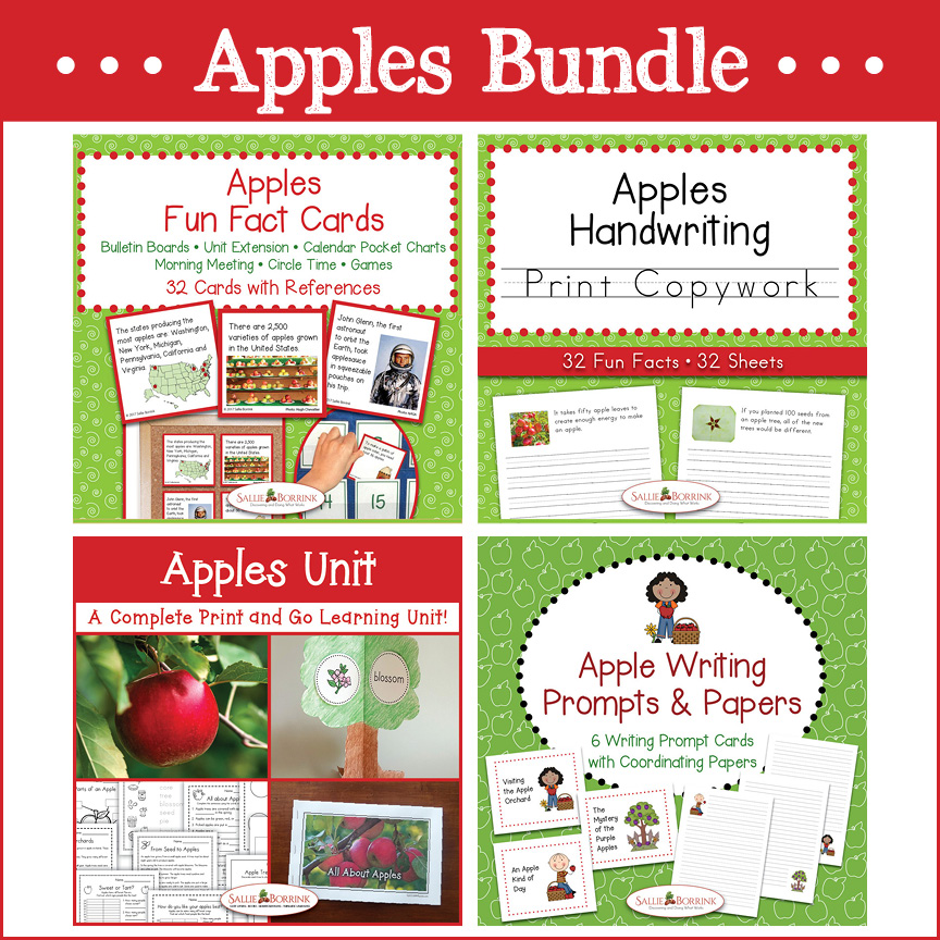 Apples Bundle – Unit with Life Cycle Craft, Print Copywork, Fun Fact Cards, Writing Prompts