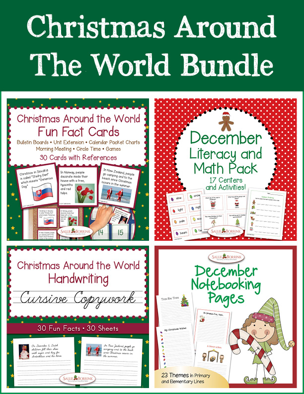 Christmas Around the World Bundle – Literacy and Math, Cursive Copywork, Fun Fact Cards, Notebooking Pages
