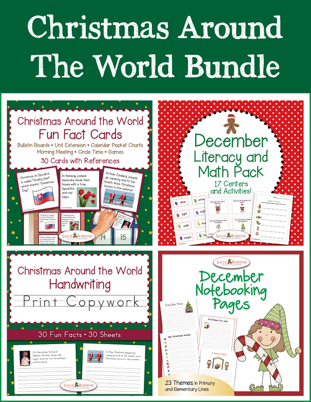 Christmas Around the World Bundle – Literacy and Math, Print Copywork, Fun Fact Cards, Notebooking Pages
