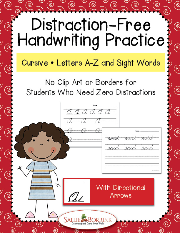 Distraction Free Cursive Handwriting - Letters and Words with Arrows