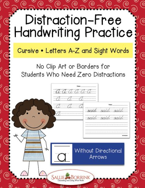 Distraction Free Cursive Handwriting - Letters and Words without Arrows