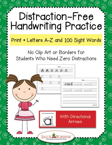 Distraction Free Print Handwriting - Letters and Words with Arrows