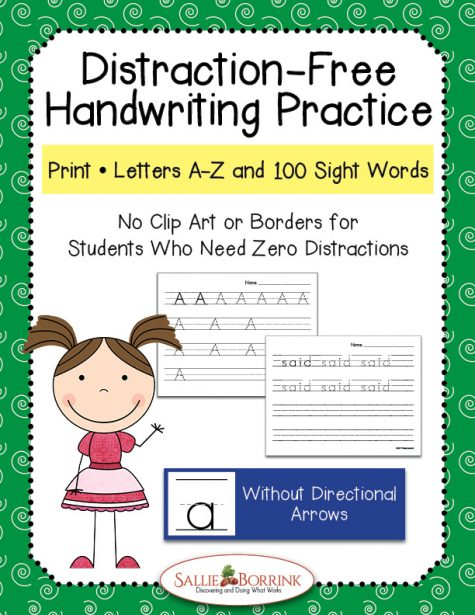 Distraction Free Print Handwriting - Letters and Words without Arrows