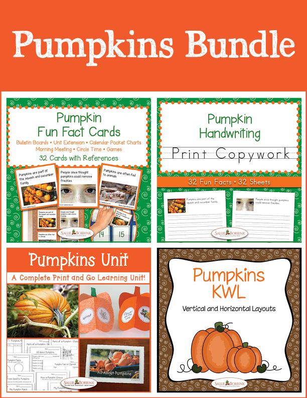 Pumpkins Bundle – Unit with Life Cycle Craft, Print Copywork, Fun Fact Cards, KWL