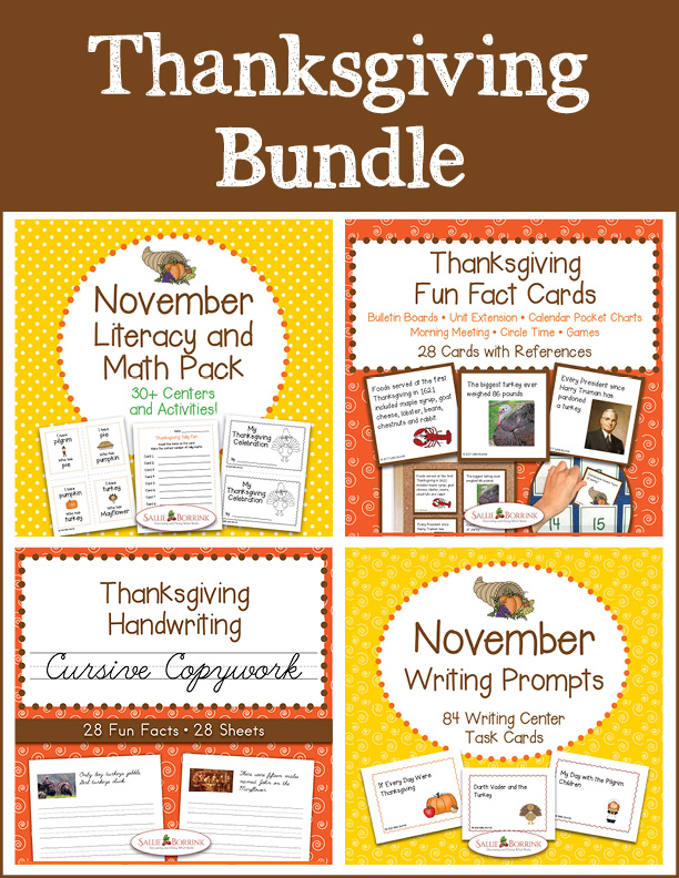 Thanksgiving Bundle – Literacy and Math, Fun Fact Cards, Cursive Copywork, and Writing Prompts