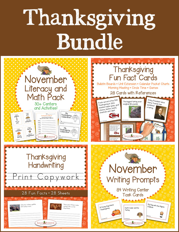 Thanksgiving Bundle – Literacy and Math, Fun Fact Cards, Print Copywork, and Writing Prompts