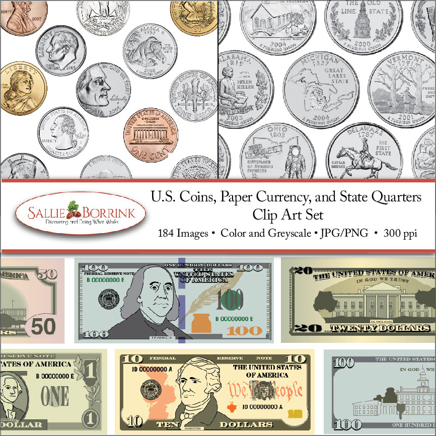 US Coin and Paper Currency Clip Art Set Cover 041017