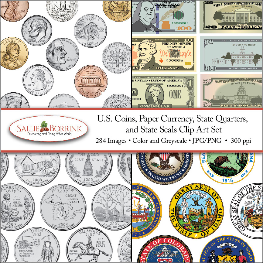 US Coin and Paper Currency Clip Art Set Cover