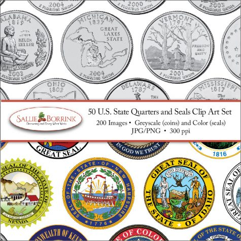 US State Quarters Clip Art Set Cover