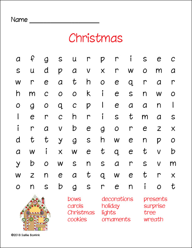 Christmas Gingerbread House Word Search