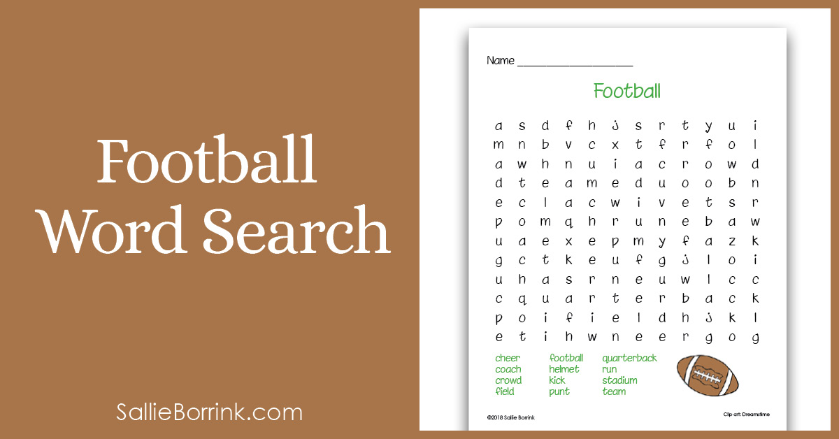 Football Word Search Printable for Kids 2