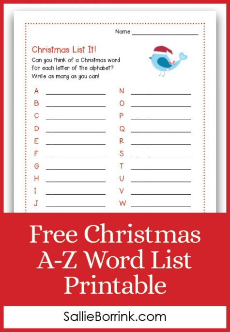 Free Christmas A-Z Word List Printable