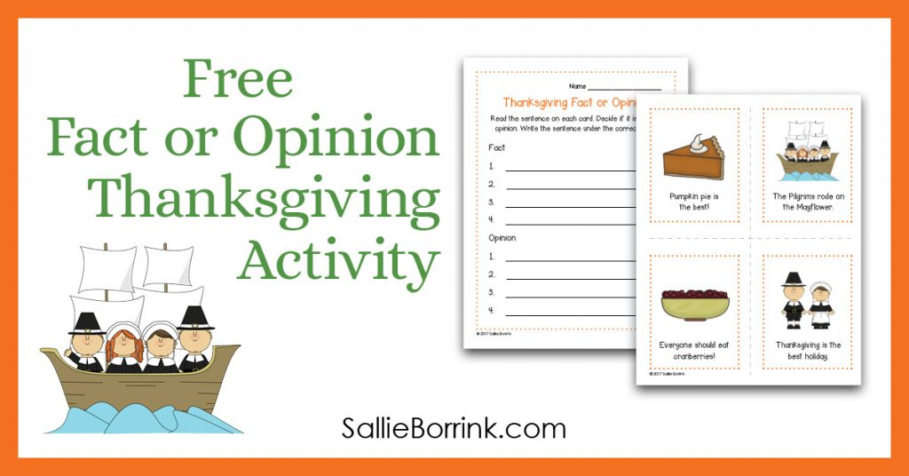 Free Thanksgiving Fact or Opinion Activity 2