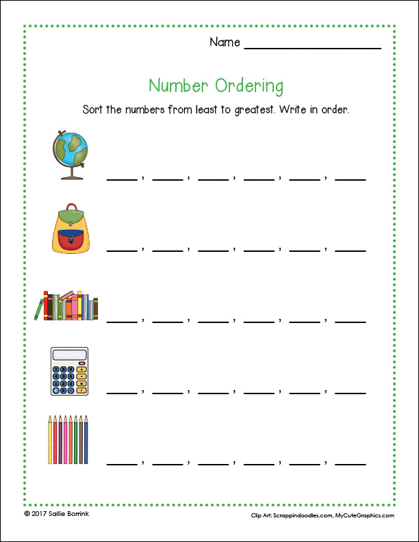 Number Ordering Activity page 1