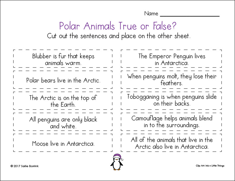 Polar Animals True or False page 1