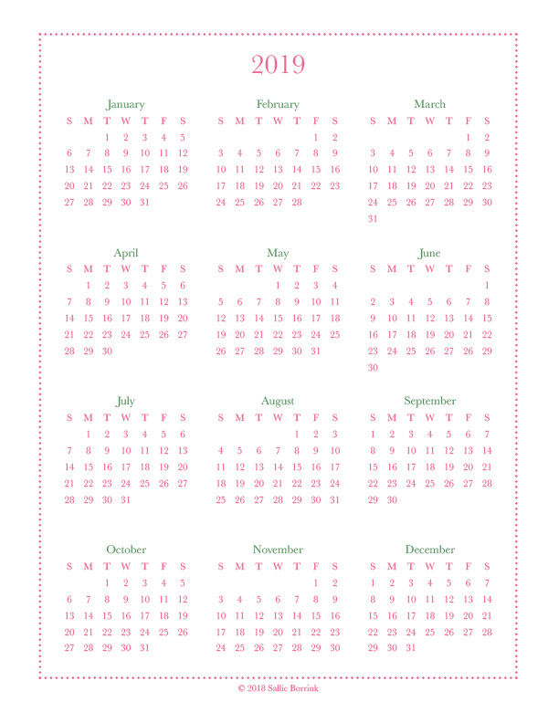 2019 and 2020 Calendars