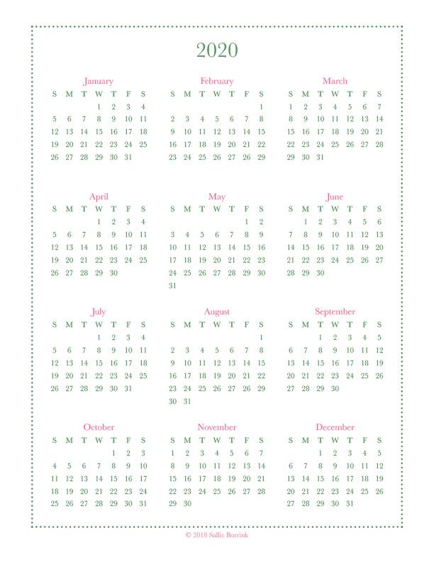 Ataglance Calendar 2020 Free Year at a Glance Calendar Printables 2019 and 2020   A
