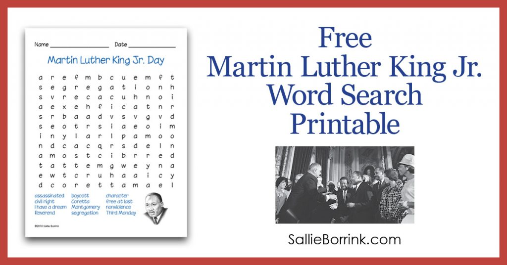 Free Martin Luther King Jr. Word Search Printable 2