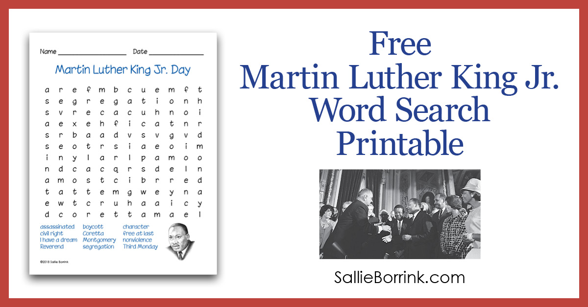 Free Martin Luther King Jr Word Search Printable Sallieborrink Com