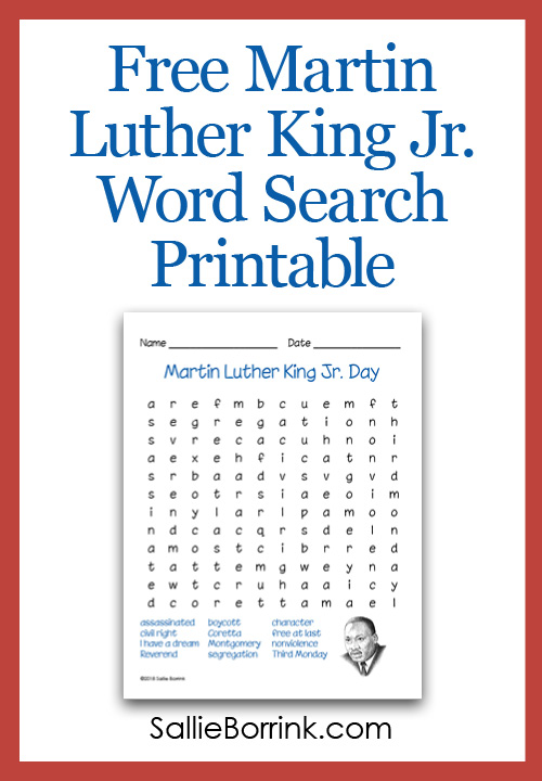 photo regarding Martin Luther King Word Search Printable called Cost-free Martin Luther King Jr. Phrase Glimpse Printable - A Tranquil