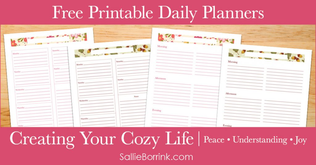 Free Printable Daily Planners - Creating Your Cozy Life Planner 2