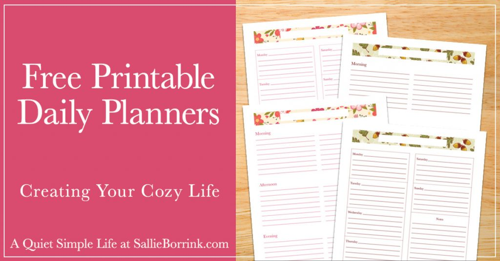 graphic relating to Printable Life Planner named Totally free Printable Every day Planners - A Serene Very simple Lifetime with