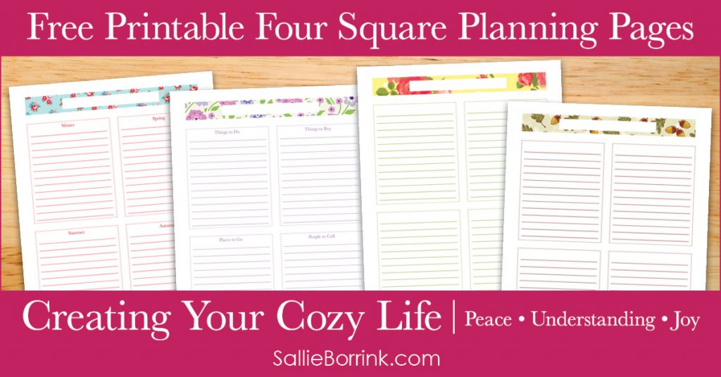 Free Printable Four Square Planning Pages - Creating Your Cozy Life Planner 2