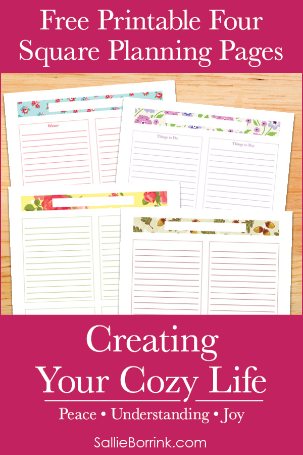 Free Printable Four Square Planning Pages - Creating Your Cozy Life Planner