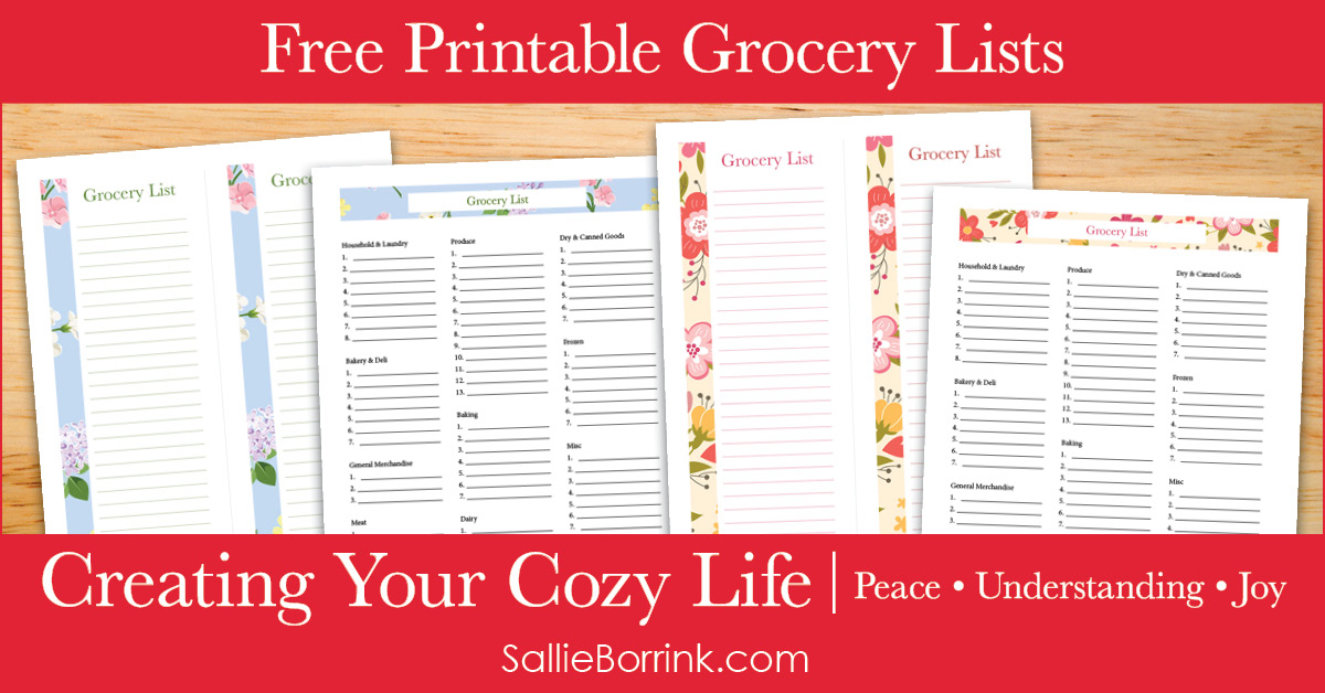 Free Printable Grocery Lists - Creating Your Cozy Life Planner 2