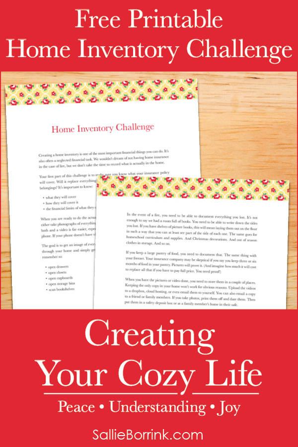 Free Printable Home Inventory Challenge - Creating Your Cozy Life Planner