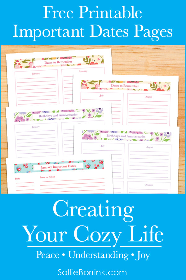 Free Printable Important Dates Pages - Creating Your Cozy Life Planner