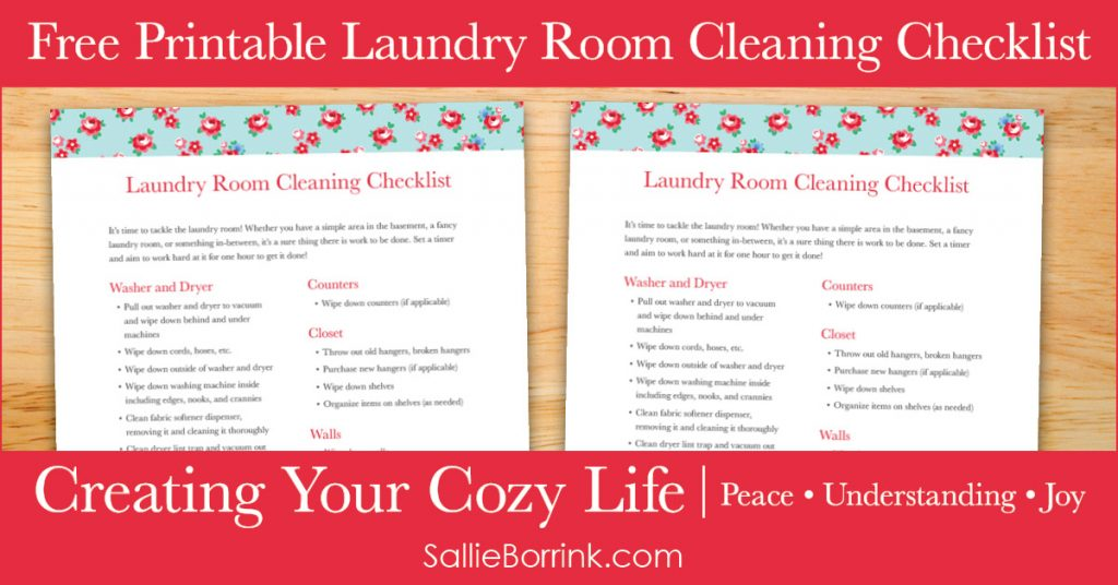 Free Printable Laundry Room Cleaning Checklist - Creating Your Cozy Life Planner 2