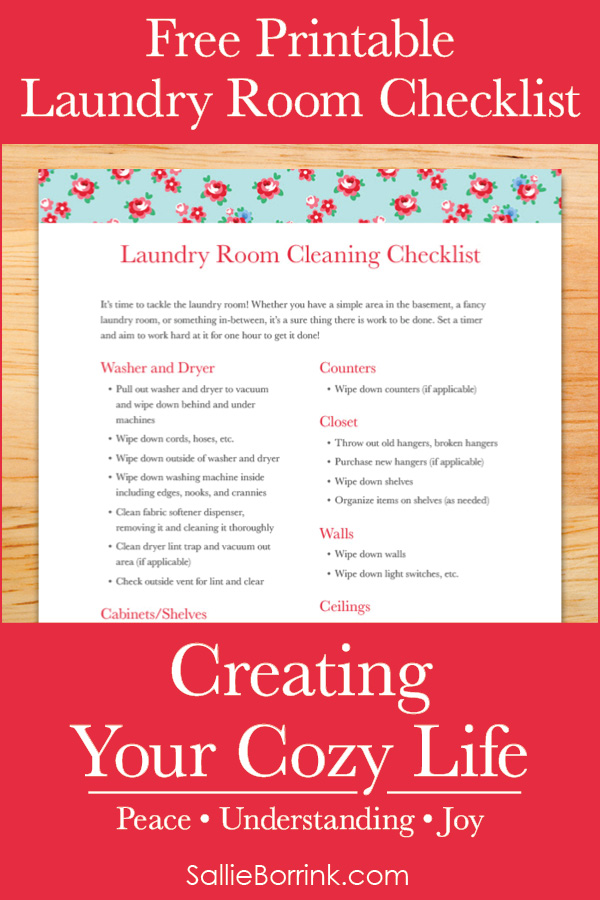 Free Printable Laundry Room Cleaning Checklist - Creating Your Cozy Life Planner