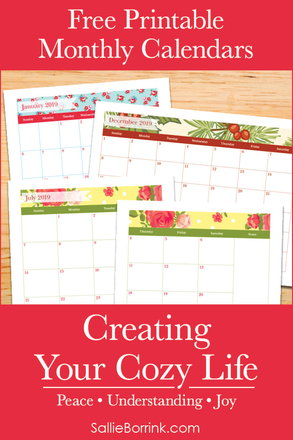 Free Printable Monthly Calendars - Creating Your Cozy Life Planner