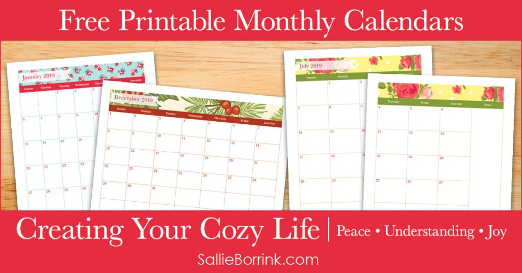 Free Printable Monthly Calendars - Creating Your Cozy Life Planner 2
