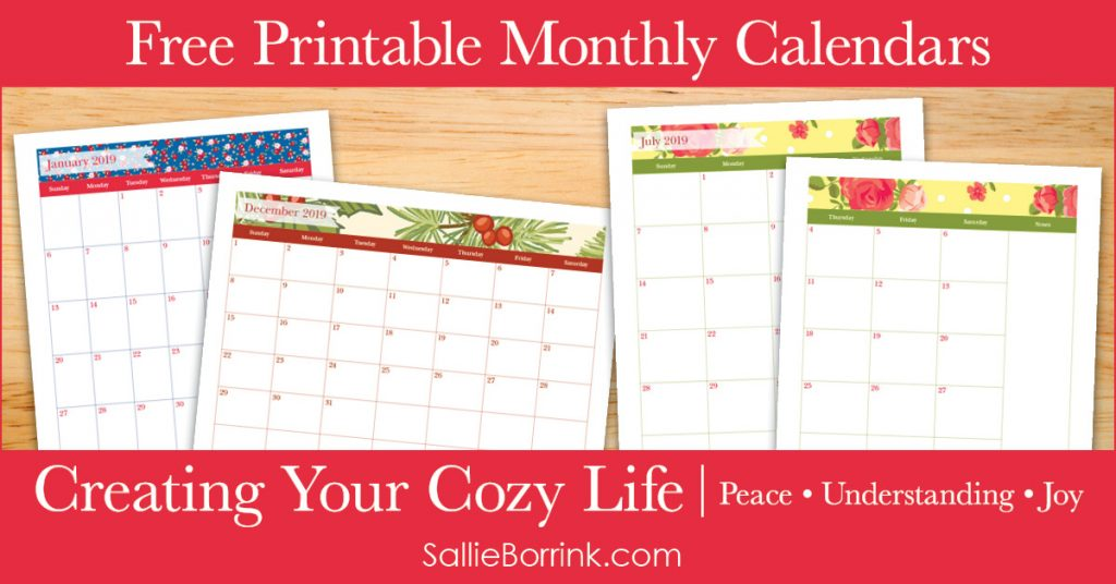 Free Printable Monthly Calendars Sallieborrink Com
