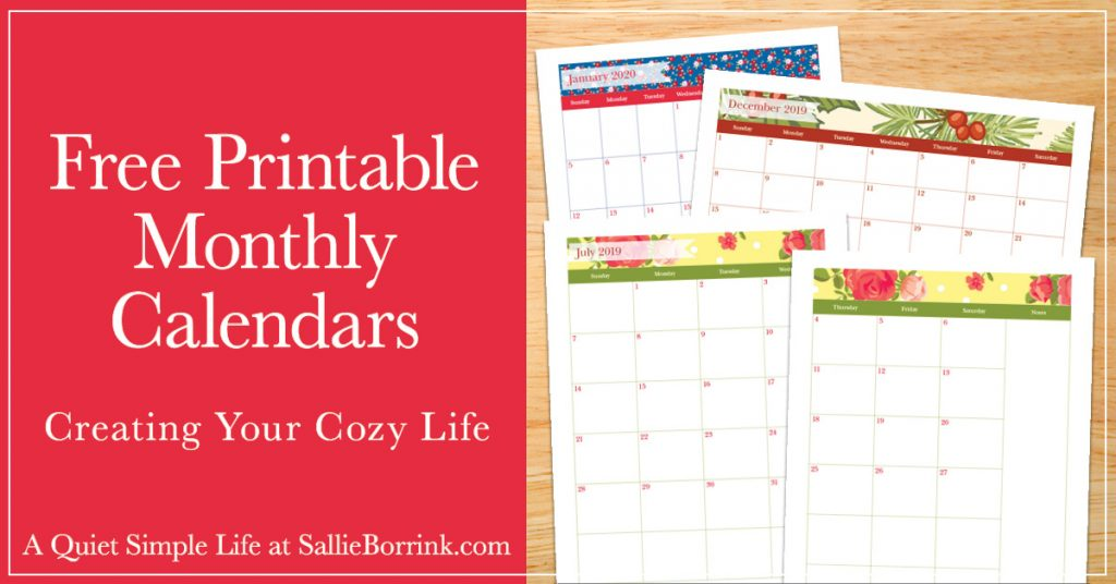 Free Printable 2020 Monthly Calendar.Free Printable Monthly Calendars A Quiet Simple Life