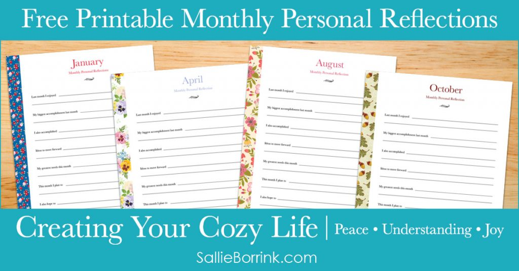 Free Printable Monthly Personal Reflections - Creating Your Cozy Life Planner 2