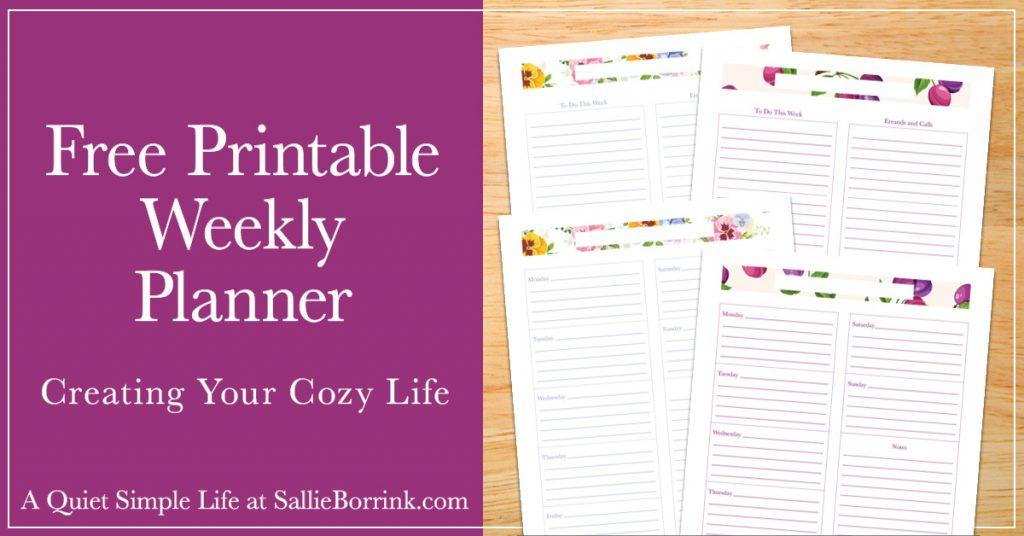 image relating to Free Weekly Planner known as Totally free Printable Weekly Planner - A Relaxed Uncomplicated Lifestyle with