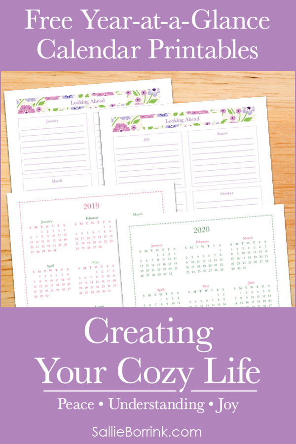 Free Year At A Glance Calendar Printables - Creating Your Cozy Life Planner