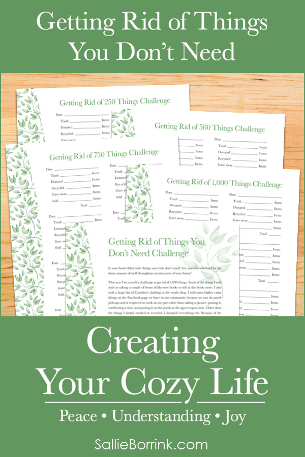 Getting Rid of Things You Don't Need Challenge - Creating Your Cozy Life Planner