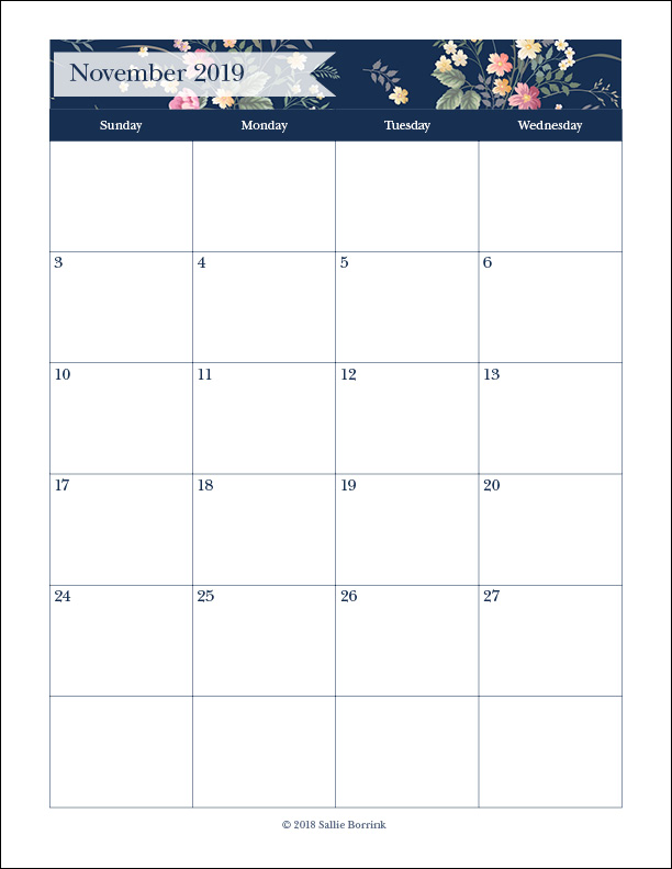 2019 TwoPage Monthly Calendars