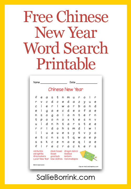 Free Chinese New Year Word Search Printable Pin