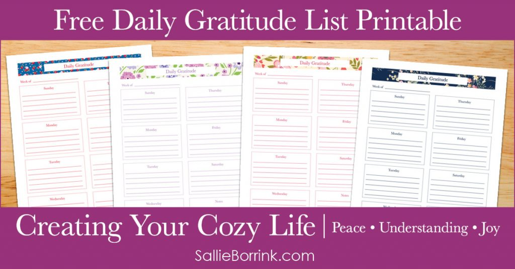 Free Daily Gratitude List Printable - Creating Your Cozy Life Planner 2